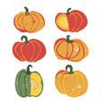 set of 6 cute handdrawn pumpkins vector image