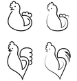 stylized cocks and hens on a white background vector image