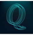 The letter Q Polygonal letter Low poly model vector image