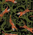Wild tiger repeat seamless pattern vector image