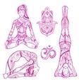Sketch Yoga Women Icon Set vector image