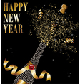 Diamond champagne bottle uncorked in New Year vector image