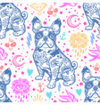 vintage traditional tattoo flash seamless pattern vector image