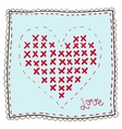 Handkerchief with heart embroidery vector image