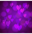 Abstract background with bokeh hearts vector image