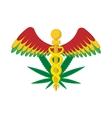 Caduceus with marijuana leaf symbol icon vector image