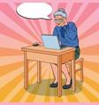 pop art happy senior woman using laptop at home vector image