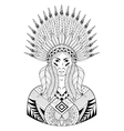 Portrait of Indian head with zentangle War vector image