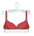 red bra on a hanger icon female sexy underwear vector image