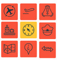 set of 9 travel icons includes locate briefcase vector image