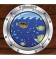 porthole and fishes vector image vector image