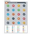Flat audio icon set vector image