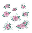 flowers roses set hand drawing monochrome vector image