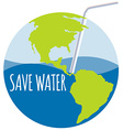 Save water theme with straw vector image