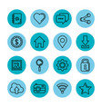 blue icons set social media network application vector image