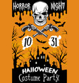 halloween poster horror skull party vector image
