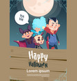 happy halloween trick or treat banner cute kids vector image