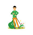 man flat cartoon character cleaning and raking vector image