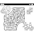 maze with ants and fruits for coloring vector image