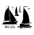 sailing yacht silhouette set vector image