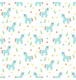seamless pattern with cute blue unicorns fashion vector image