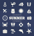 summer vacation icons set - travel adventure icon vector image