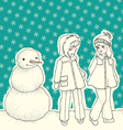snowman with children vector image vector image