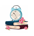 Alarm clock and books set vector image