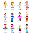 set of people holding months names in hands vector image