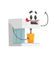 funny coffee machine character with smiling face vector image