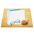 Empty sheets of paper above the wooden table vector image vector image