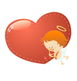 Cupid With Big Heart vector image vector image