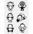 angel icons and cupids signs vector image