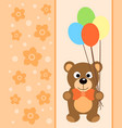 background card with funny bear vector image