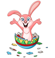 bunny hatching from easter egg vector image