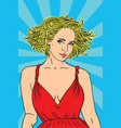 cute pop art fashion woman in dress with glasses vector image