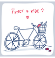 Cute sketch of bicycle with basket valentine card vector image
