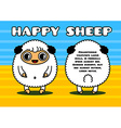 Kawaii card with sheep characters vector image