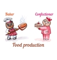 Owls baker and confectioner watercolor set vector image