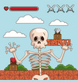 skull on videogame scenery cartoon vector image