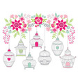 Flowers With Bird Cages vector image