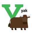 English animals zoo alphabet letter Y vector image