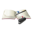 An open notebook with a stapler a pen and an vector image vector image