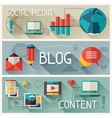 Media and banners set design with blog icons vector image