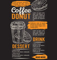 donut and coffee chalkboard poster template vector image
