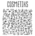 doodle cosmetics and self-care icons vector image