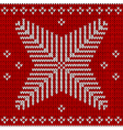 red knitted background with snowflakes vector image