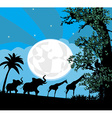Safari in Africa silhouette of wild animals vector image
