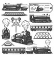 vintage monochrome locomotive elements collection vector image