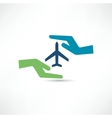 Hands and aircraft The concept of safe flight vector image
